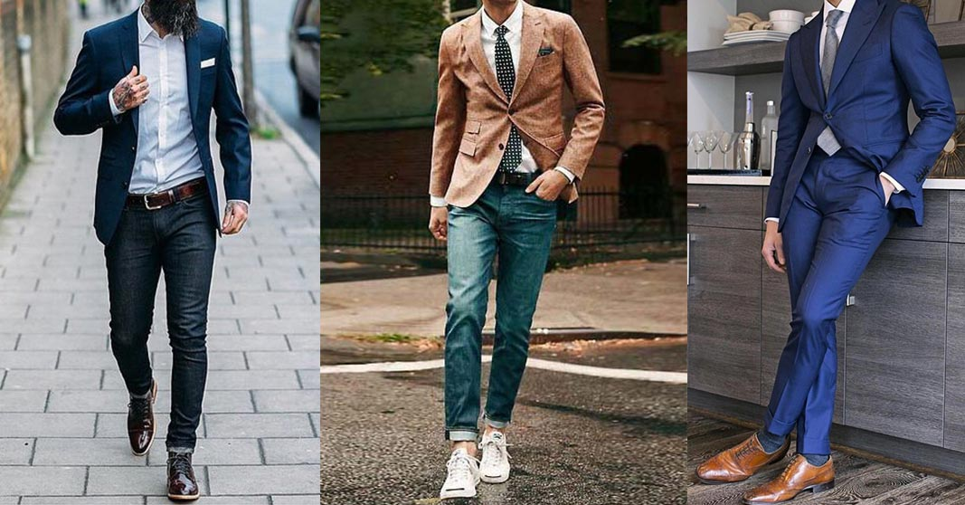 3 men in different suits styles