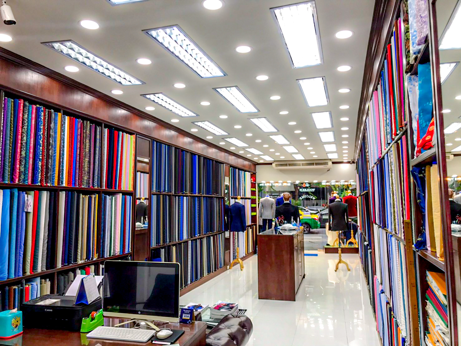 woolrich bespoke tailor interior fabric display